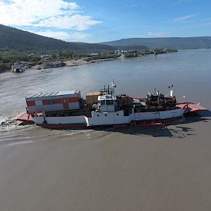 Crossing the Yukon River on the 24 hour George Black Ferry