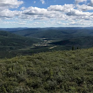 Airstrip Camp and Placer Workings looking East from Western Trident